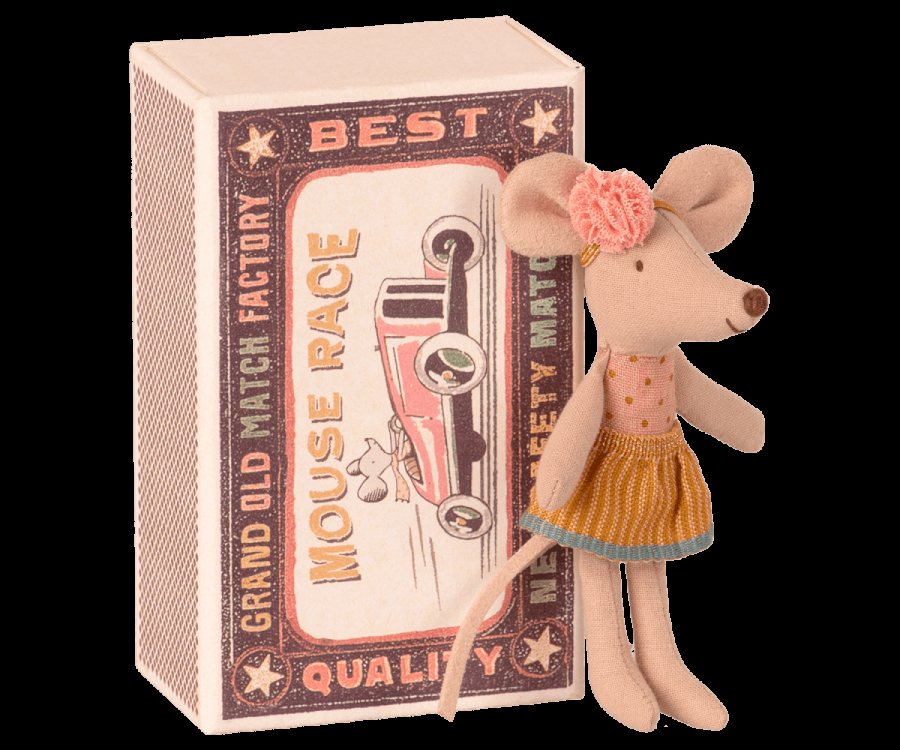Little sister mouse in matchbox